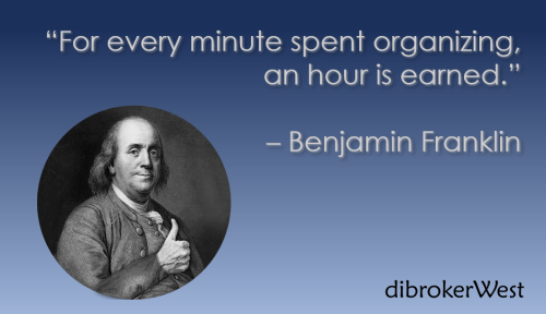 Quote from Benjamin Franklin about being organized